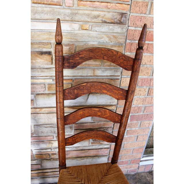 Antique Ladder Back Chairs With Rush Seating - Set of 4 - Image 3 of 6 - Antique Ladder Back Chairs With Rush Seating - Set Of 4 Chairish