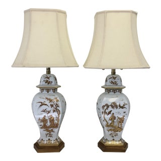 Marbro Chinoiserie Porcelain Lamps - A Pair