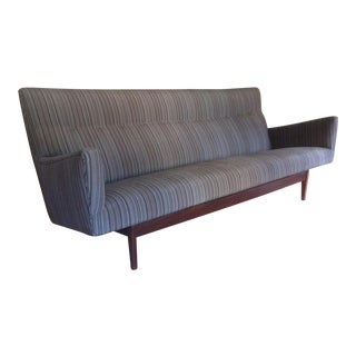 Jens Risom Mid-Century Walnut & Gray Upholstered Sofa