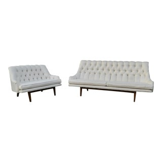 Tufted Regency Style Couch & Love Seat - A Pair