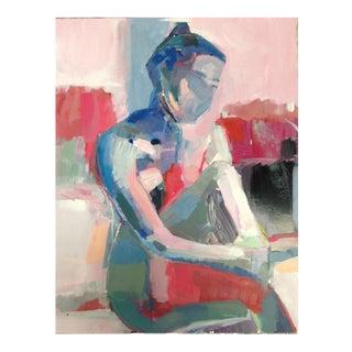 """Subtle Bath"" Acrylic Figure Painting on Board"