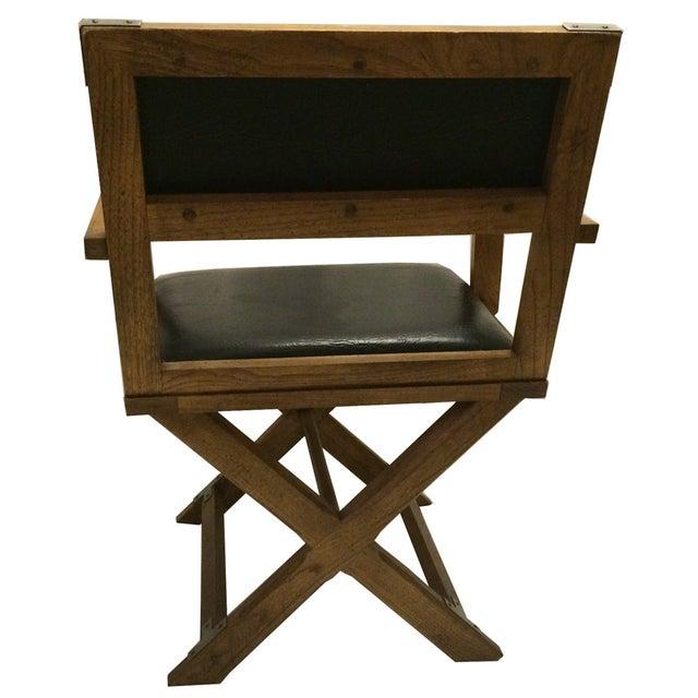 Bernhardt vintage campaign black vinyl chair chairish