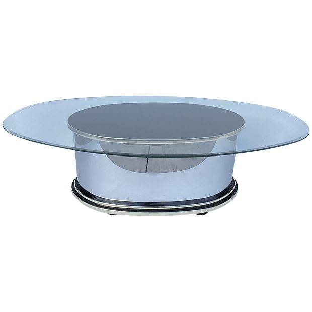 Image of Mid-Century Metal Glass and Wood Coffee Table