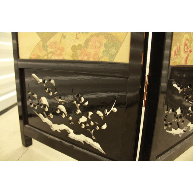 Japanese Byobu Folding Screen With Silk Panels - Image 7 of 8