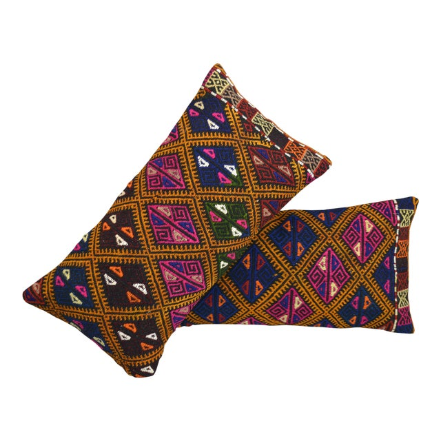 Vintage Turkish Kilim Rug Pillow Covers- A Pair - Image 1 of 5