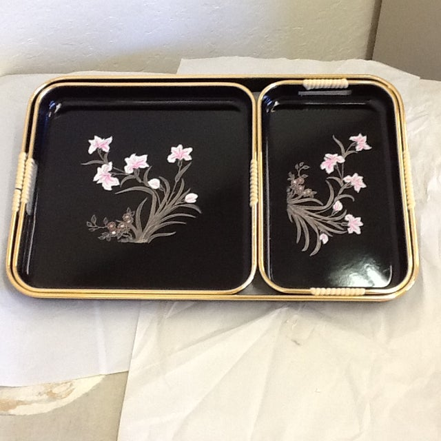 3 Mid-Mod Lacquerware Hand Decorated Trays-Unused - Image 4 of 7