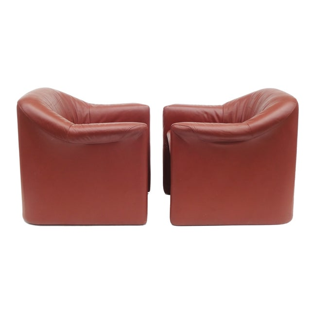 Image of Metro Postmodern Brown Leather Armchairs - A Pair