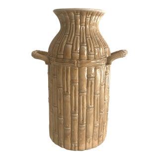Vintage Ceramic Bamboo Motif Umbrella Stand or Large Vase