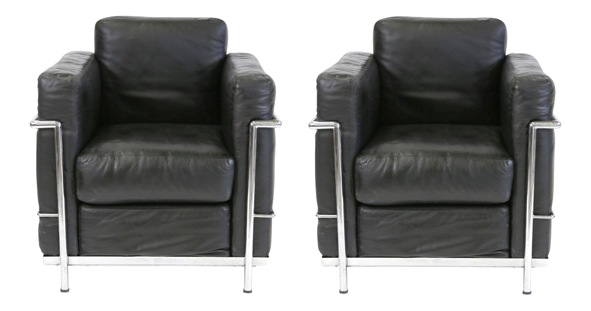 vintage le corbusier style black leather club chairs a pair