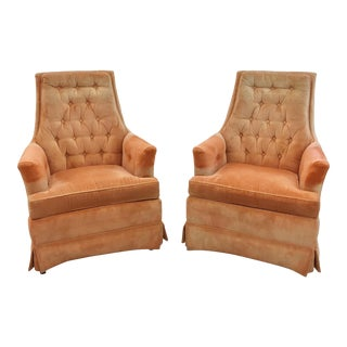 Mid-Century Modern Upholstered Club Chairs - A Pair