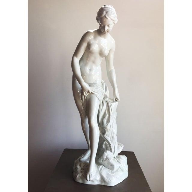 Image of 19th C. Falconet Porcelain 'Bather' Sculpture