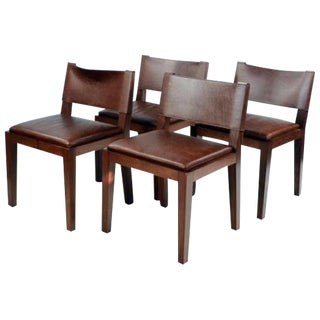 Hudson Furniture Modern Leather Chairs - Set of 4