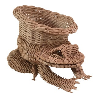 Vintage Wicker Frog Planter Marble Eyes