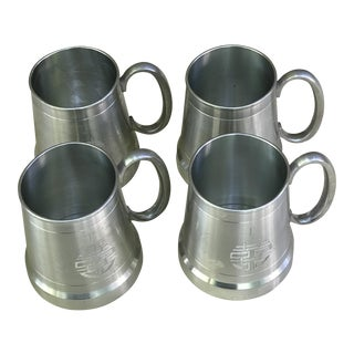 Vintage Selangor Pewter Cups - Set of 4