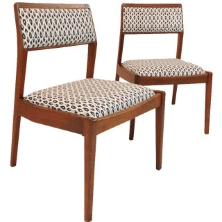 Jens Risom Walnut Side Chairs - A Pair