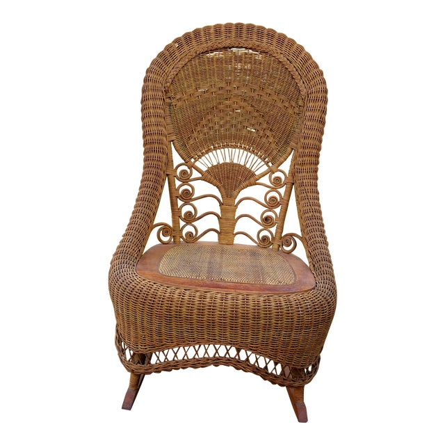 Victorian Wicker Rocking Chair Nursing Rocker in Original Condition Excellent Light Color 1800s Japanese Fanback - Image 1 of 11