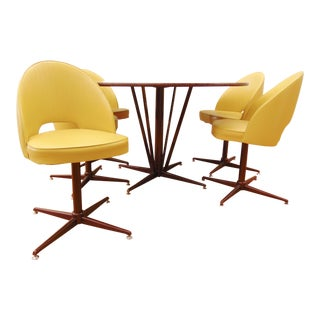 Mid-Century Modern Round Table & 5 Yellow Chairs- Set of 6
