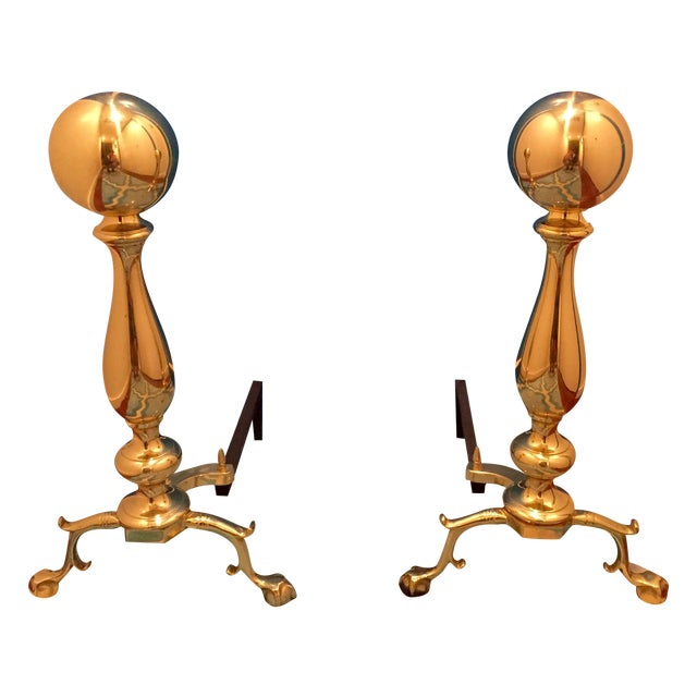 Image of Large Georgian-Style Brass Andirons - Pair