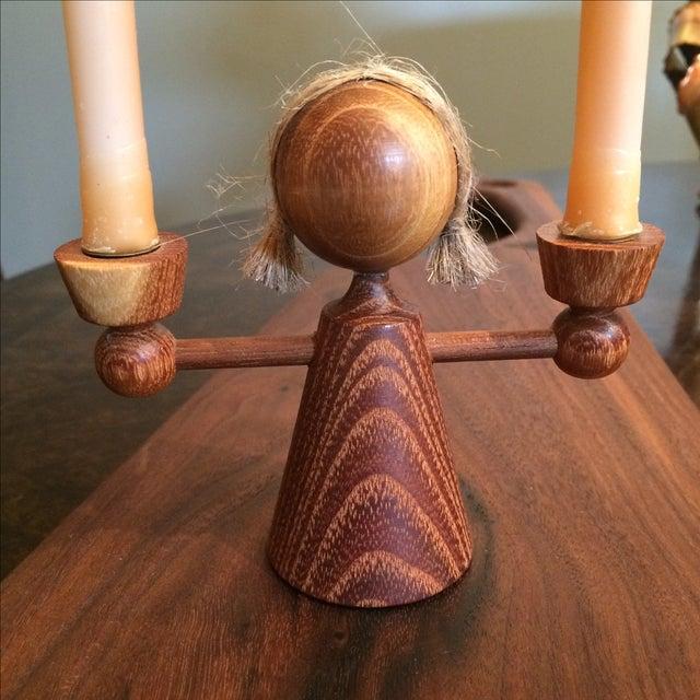 Danish Modern Teak Girl Candle Holders - S/3 - Image 5 of 6