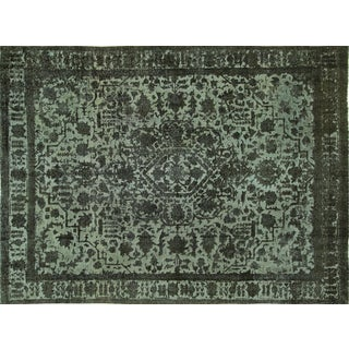 """Overdyed Blue Floral Rug - 9'4"""" x 12'8"""""""