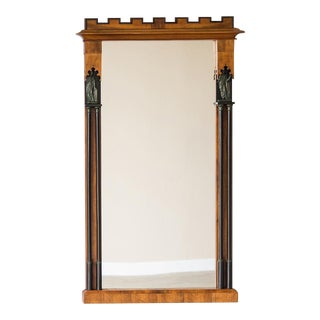 Biedermeier Period Cherrywood, Ebonized Wood Mirror, Austria circa 1825 (28 1/2″w x 48 1/2″h)