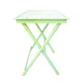 Vintage Jade & Gold Faux Bamboo Tray Table