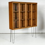 Image of 1960s Glass Front Hutch on Hairpin Legs
