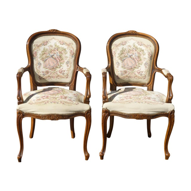 Vintage French Provincial Accent Arm Chairs - Pair - Image 1 of 11