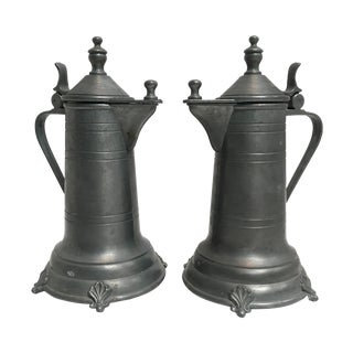 Antique Pewter Lidded Tankards - A Pair