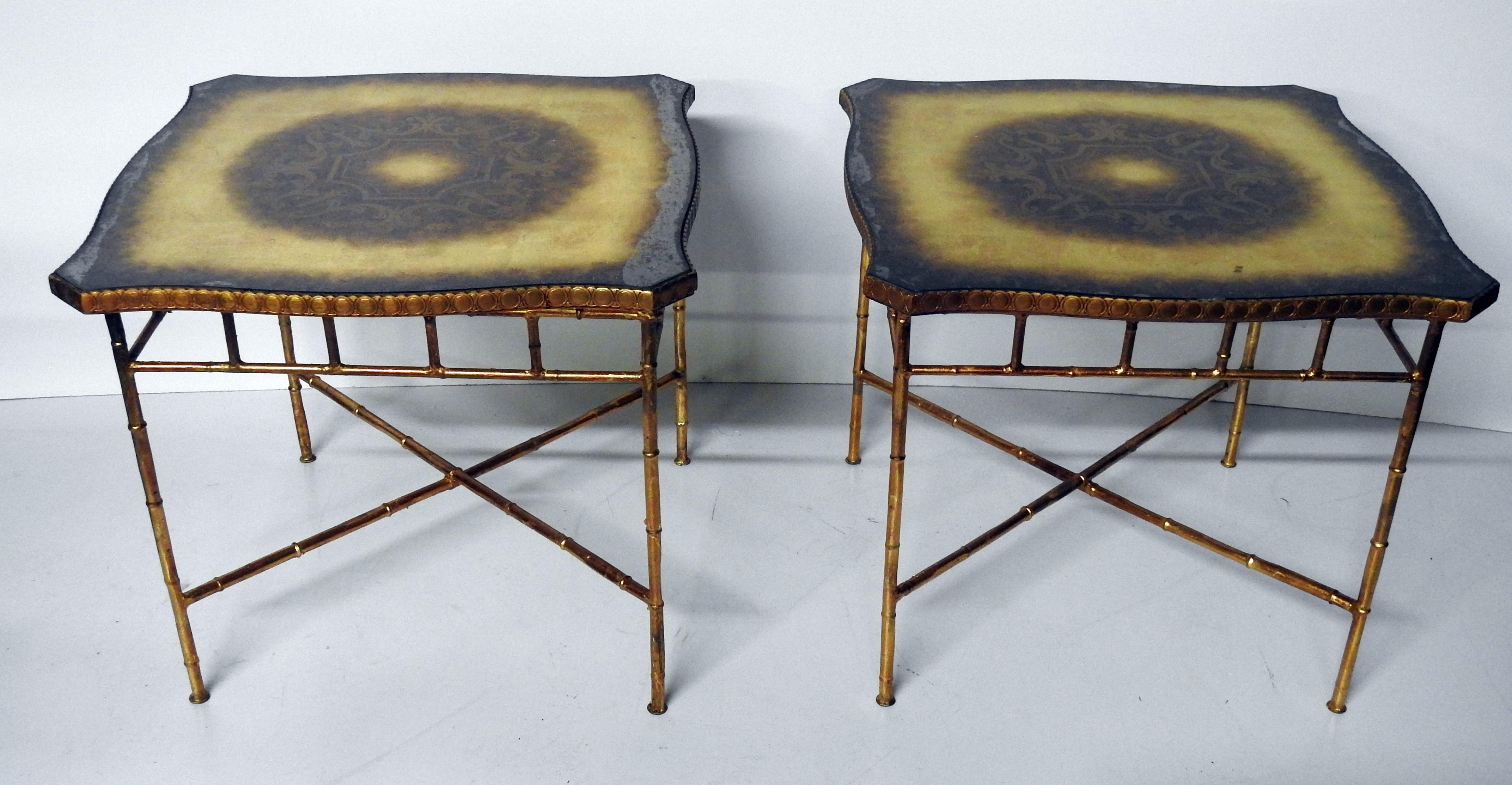 Pair Of Hollywood Regency Style Faux Bamboo End Tables   Image 2 Of 4