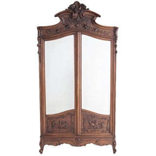 French 19th Century Louis XV Carved Walnut Mirror-front Armoire