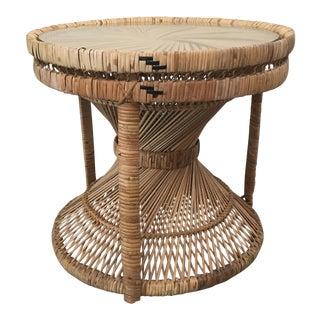 Boho Chic Rattan Hourglass Side Table