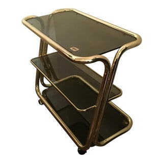 Morex Italian Modern Glam Brass and Smoked Glass Bar Cart, Trolley or Server