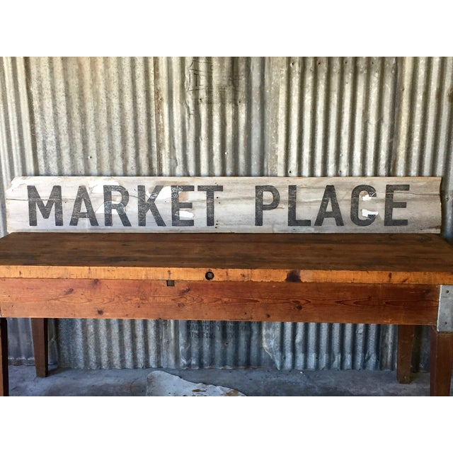 "Reclaimed Weathered Wood ""Marketplace"" Sign - Image 7 of 7"
