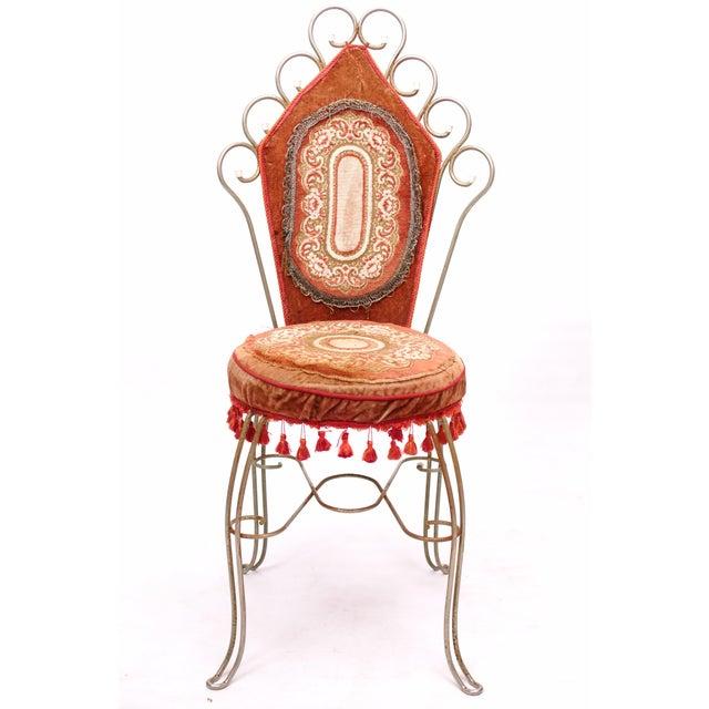 Image of Scrolled Metal Bohemian Vanity Chairs - Pair