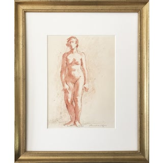 Vintage Standing Nude Pastel w/ Pen & Ink Drawing