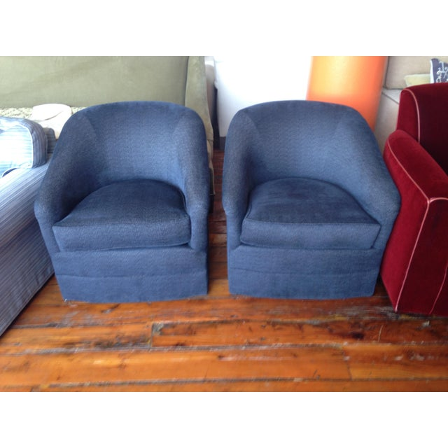 Navy Club Chairs - A Pair - Image 3 of 3