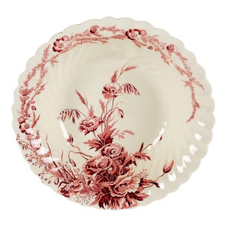 Clarice Cliff English Red Transferware Porcelain Serving Bowl