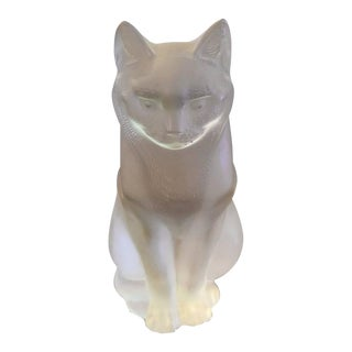 Lalique Chat Assis Seated Glass Cat Sculpture