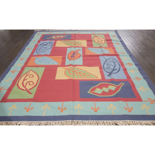 Transitional Apadana Indian Dhurrie Kilim Rug