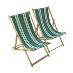 Image of Vintage Wood & Canvas Folding Deck Chairs - A Pair