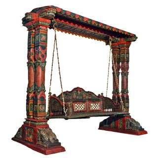 Two Pillar Painted Carved Royal Swing Set
