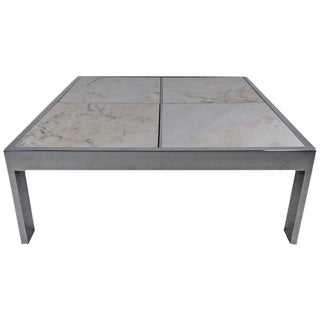 Pace Collection Marble and Chrome Coffee Table