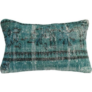 Green Vintage Handmade Overdyed Pillow Cover 12x20