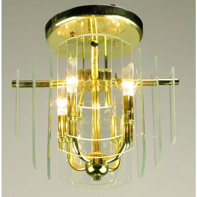 Pair Brass and Beveled Graduated Glass Ceiling Lights - Image 3 of 5
