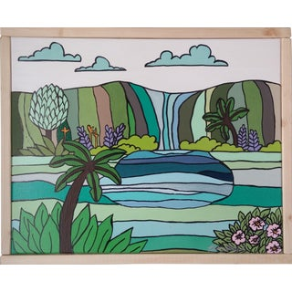 """Green Waterfall"" Original Color Block Art by Kris Gould"