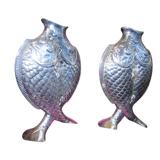 Christofle Two Fishes Vases - Pair