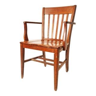 Vintage Wood Banker Arm Chair