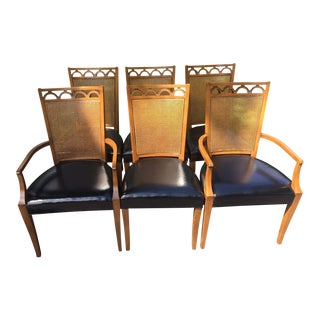 Mid-Century Modern John Stuart Pieced Back Cane Dining Chairs - Set of 6