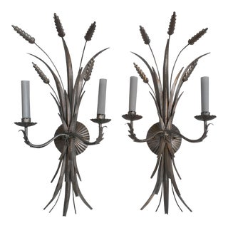 Mid 20th Century Italian Antique Silver Wheat Wall Sconces - a Pair